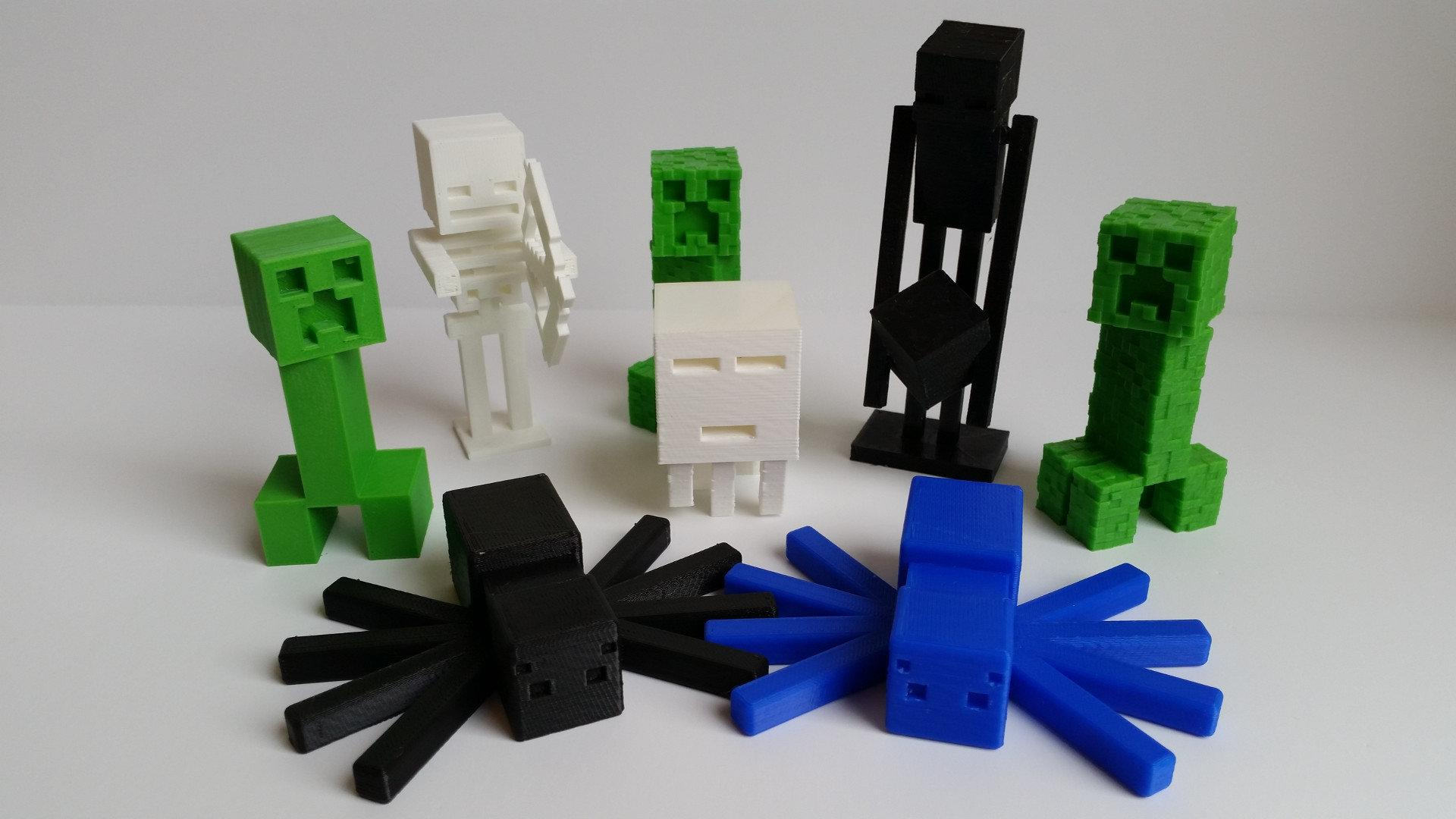 3d Printed Minecraft Mobs Creeper Skeleton And Others