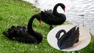 Odile The Swan designed by loubie resembles black swans at Leeds castle in Kent UK