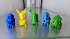 Five 3D Printed Pokemons - On Delta Wasp Printing Bed