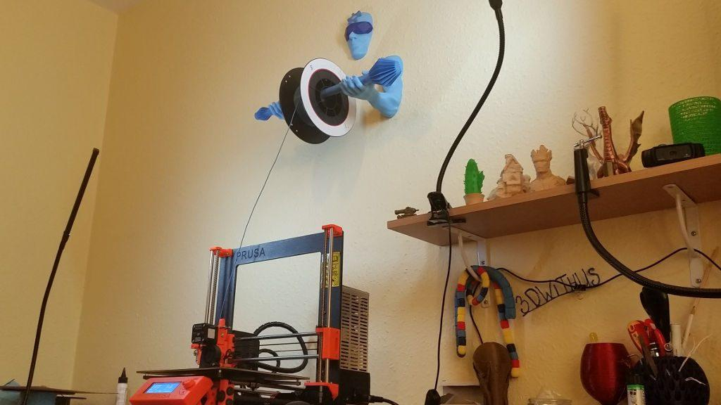Wall Mounted Spool Holder - 3D Printing Guardian In Action