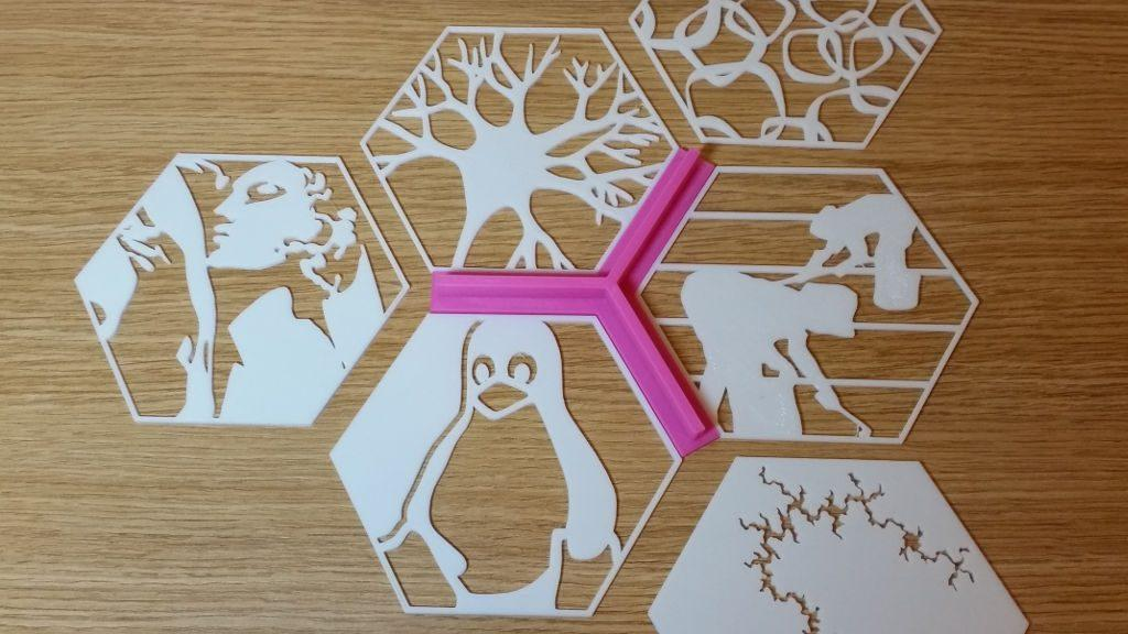 3D Printed Hexagons and the Spacer for the Tessellation